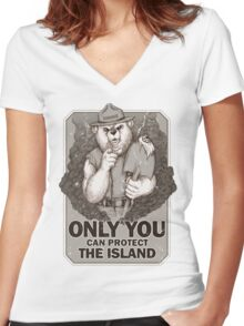 Smoke The Lost Bear Women's Fitted V-Neck T-Shirt