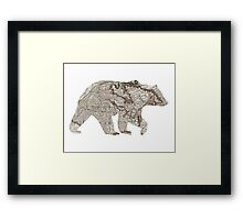 Bear silhouette, old map Framed Print