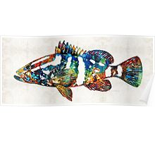 Colorful Grouper 2 Art Fish by Sharon Cummings Poster