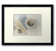 Hot Air Balloon over Building Framed Print