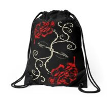 Painting The Roses Red Drawstring Bag