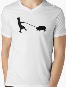 Chef and pig Mens V-Neck T-Shirt