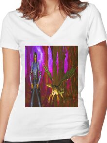 Pet Dragon Women's Fitted V-Neck T-Shirt