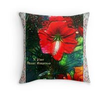 Victorian Christmas Greeting Card Throw Pillow