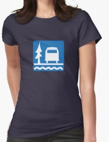 VW Bay Window Bus Camping Womens Fitted T-Shirt