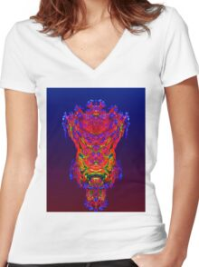 Reflection Abstract Women's Fitted V-Neck T-Shirt