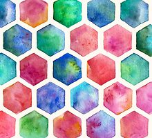Hand Painted Watercolor Honeycomb Pattern by micklyn