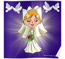 Wedding Bride and Doves Poster