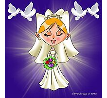 Wedding Bride and Doves Photographic Print