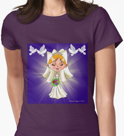 Wedding Bride and Doves Womens Fitted T-Shirt