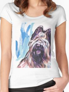 Briard Dog Bright colorful pop dog art Women's Fitted Scoop T-Shirt