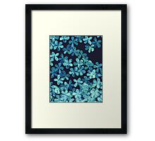 Hand Painted Floral Pattern in Teal & Navy Blue Framed Print