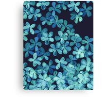 Hand Painted Floral Pattern in Teal & Navy Blue Canvas Print