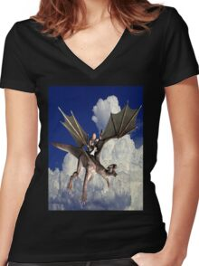 Music in the Clouds Women's Fitted V-Neck T-Shirt