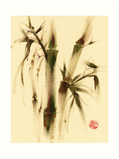 """Awareness"" Sumi-e bamboo painting on paper by Rebecca Rees"