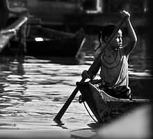 Cambodia Fishing Village - Girl on Lake by Julian Fulton-Boote