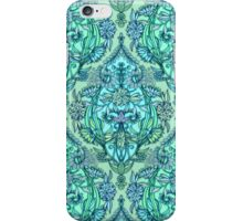 Botanical Moroccan Doodle Pattern in Mint Green, Lilac & Aqua iPhone Case/Skin