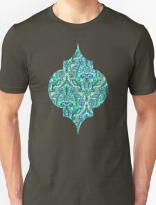 Botanical Moroccan Doodle Pattern in Mint Green, Lilac & Aqua Unisex T-Shirt