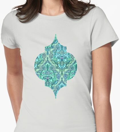 Botanical Moroccan Doodle Pattern in Mint Green, Lilac & Aqua Womens Fitted T-Shirt