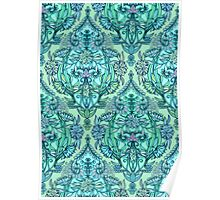 Botanical Moroccan Doodle Pattern in Mint Green, Lilac & Aqua Poster