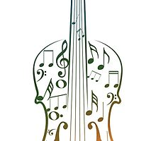 Colorful Violin with Notes by AnnArtshock