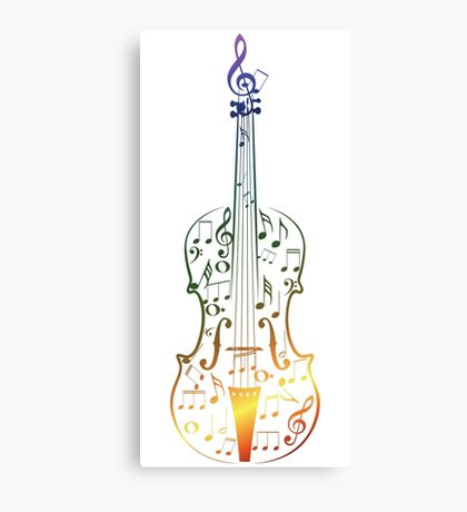 Colorful Violin with Notes Canvas Print
