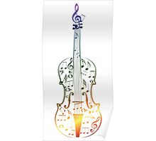 Colorful Violin with Notes Poster