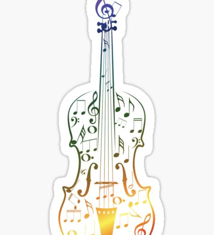 Colorful Violin with Notes Sticker