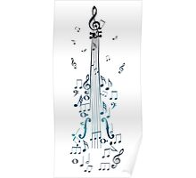 Blue Violin with Notes Poster
