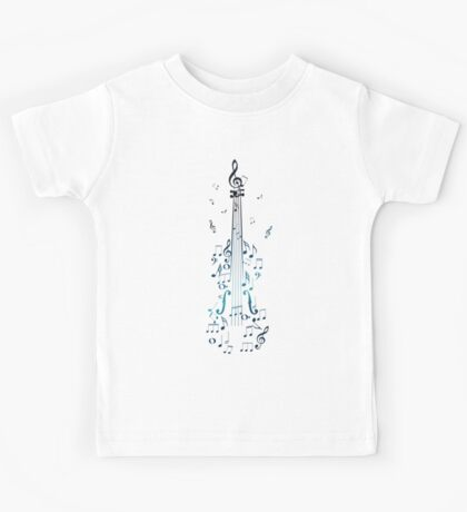 Blue Violin with Notes Kids Tee