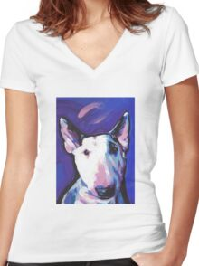 Bull Terrier Dog Bright colorful pop dog art Women's Fitted V-Neck T-Shirt