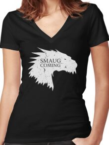 Smaug is coming Women's Fitted V-Neck T-Shirt