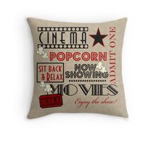 Movie Theater Cinema Admit one ticket Pillow-Red Throw Pillow
