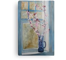 Cherry Blossoms in a Blue Pitcher  Metal Print
