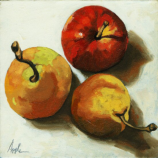 """""""Down on Fruit"""" - Pears & Apple Still Life Oil Painting by LindaAppleArt"""
