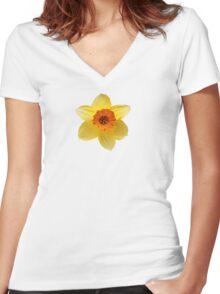 DAFFODIL FLOWER Women's Fitted V-Neck T-Shirt