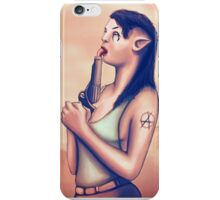 Alien Elf Punk Girl Licking The Gun Barrel iPhone Case/Skin