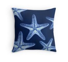 modern nautical fashion navy blue rustic beach starfish Throw Pillow