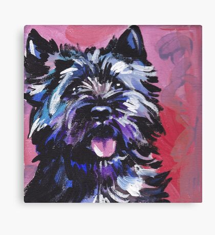 Cairn Terrier Dog Bright colorful pop dog art Canvas Print