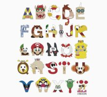Super Mario Alphabet Kids Tee