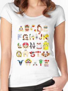 Super Mario Alphabet Women's Fitted Scoop T-Shirt