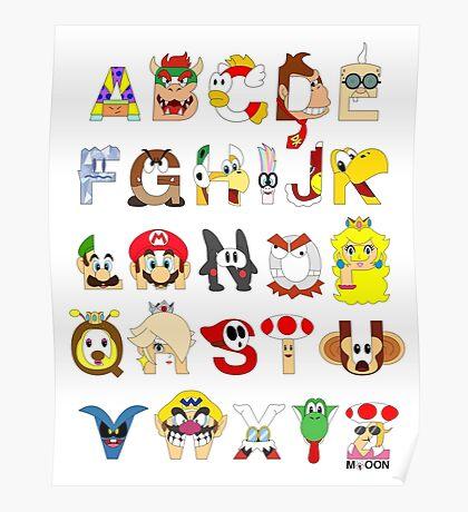 Super Mario Alphabet Poster