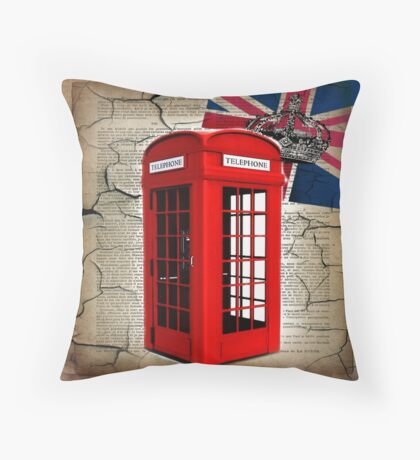 rustic grunge union jack retro london telephone booth Throw Pillow