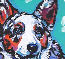 Cairdigan Welsh Corgi Dog Bright colorful pop dog art by bentnotbroken11