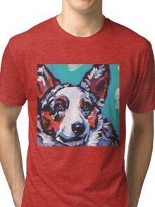 Cairdigan Welsh Corgi Dog Bright colorful pop dog art Tri-blend T-Shirt