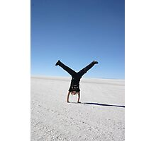 Handstand in the Uyuni Salt Flats, Bolivia Photographic Print