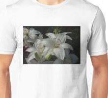 Sparkling White Oriental Lilies After a Rain Shower Unisex T-Shirt