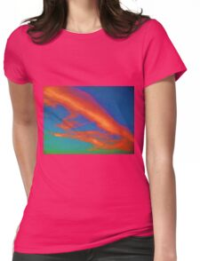 Abstract Red Blue and Green Sky Womens Fitted T-Shirt