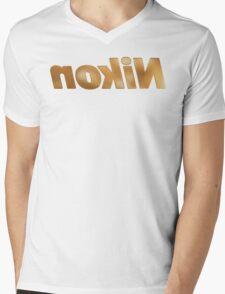 Nokin/Nikon Gold Textured Mirror Mens V-Neck T-Shirt