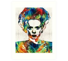 Frankenstein Bride Art - Colorful Monster Bride - By Sharon Cummings Art Print